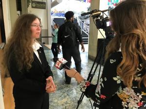 Mirands Cook being interviewed by WBOY reporter